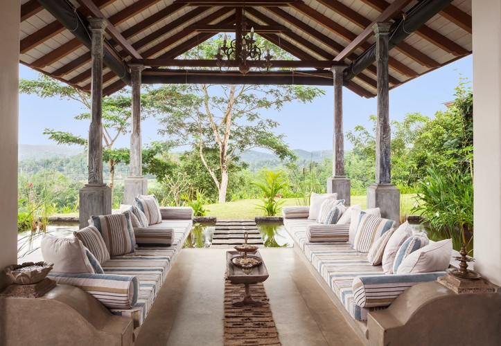 Sisindu T Estate ambalama provides soft comfortable lounging space looking over the estate.