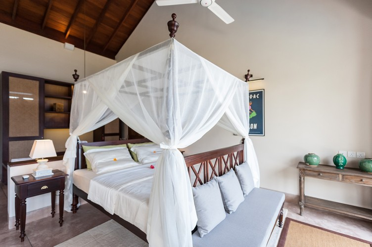 Serendipity Lake View Villa bedrooms appear even larger when you take into consideration the high timber ceilings made from quality local timber.