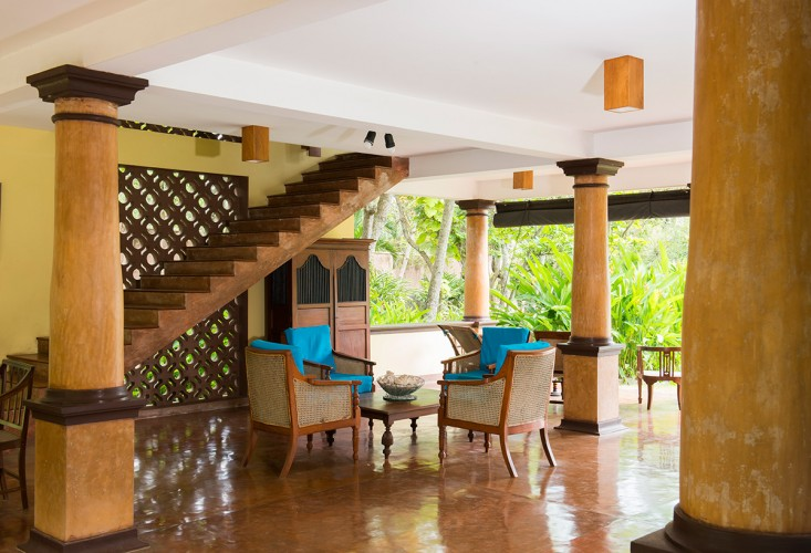 Imposing pillars from the Dutch Colonial Era feature in the lower floor of Lansiya Beach Villa Tangalle