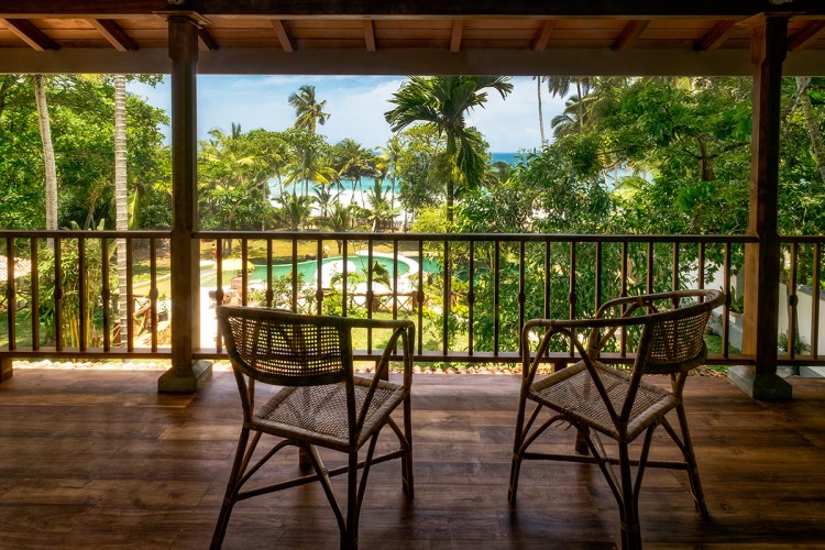 Meda Gedara Beach Villa view from upstairs; over the pool to the ocean