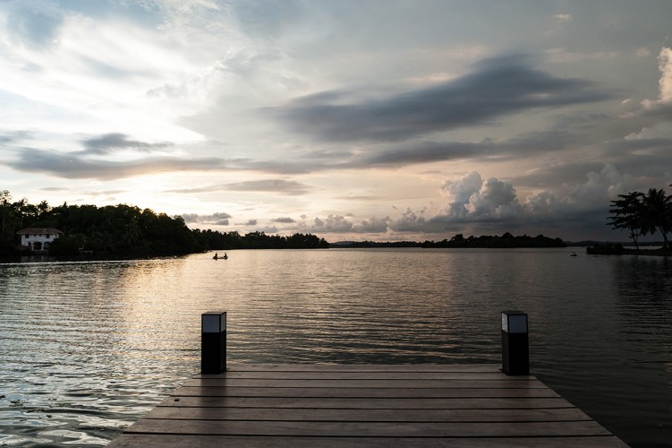 Serendipity Lake View Villa has it's own lake jetty. Here a cloudscape creates the backdrop for stunning photography