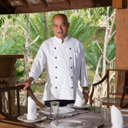 Good service means our people are the best! The Chef prepares the table at Lansiya Beach Villa Tangalle