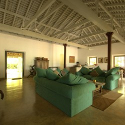 Crocodile Rock Villa encourages lounging in the plush jade sofas