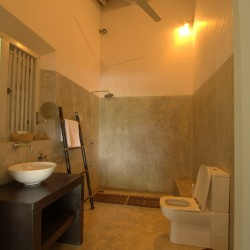 Filtered light and privacy are features of Crocodile Rock Villa bathrooms