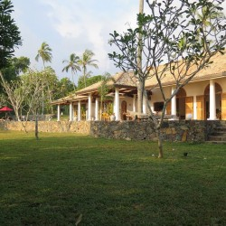 The Dutch Colonial influence is seen in the wide verandahs and featured columns of Koggala House Lakeside Villa
