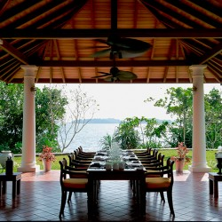 Sunrise and sunset call you to enjoy expansive lake views from the dining pavilion at Koggala House Lakeside Villa is perfect for sunset dining
