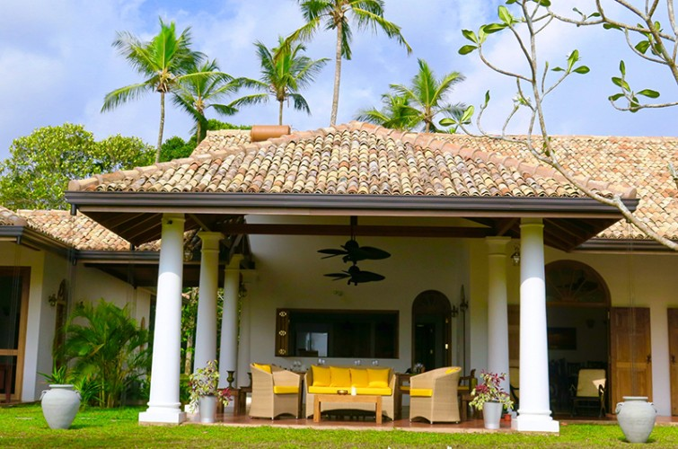 Detailed antique cement tiles keep the Dutch Colonial Style alive at Koggala House Lakeside Villa