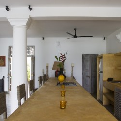 Nilaya Beach Villa Thalpe kitchen bench provides a second dining area